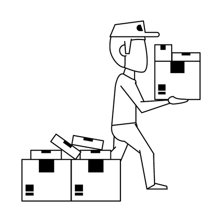 Courier with cardboard boxes avatar vector illustration graphic design