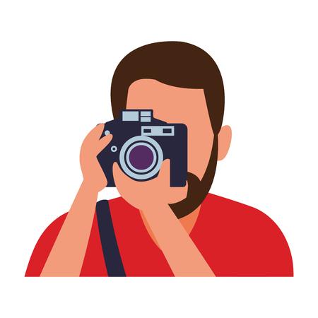 Fotógrafo con cámara profesión avatar ilustración vectorial diseño gráfico Ilustración de vector