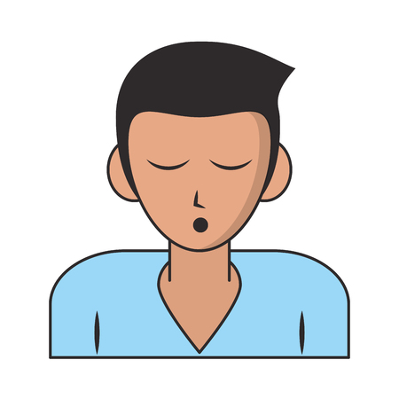 Man sleeping profile cartoon isolated vector illustration graphic design