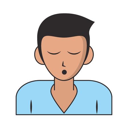 Man sleeping profile cartoon isolated vector illustration graphic design