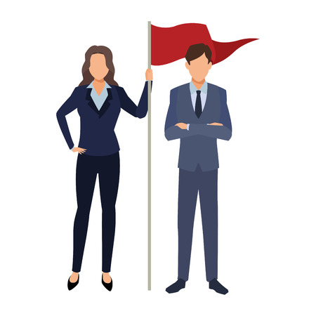executive business coworkers with success flag cartoon vector illustration graphic design