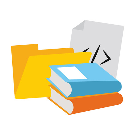 folder and books with prograaming codes vector illustration graphic design
