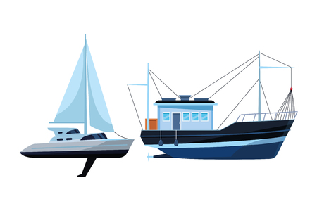 Sailboat ship marine travel vehicle machine sea exploration and fishing boat vector illustration graphic design