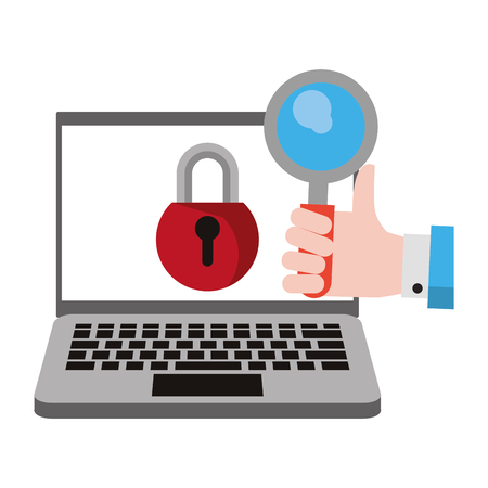 computer with padlock and magnifying glass icon cartoon vector illustration graphic design