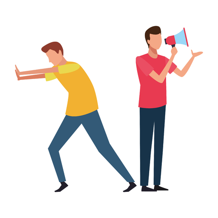 Coworkers man pushing and man with bullhorn teamwork cartoon vector illustration graphic design Illustration