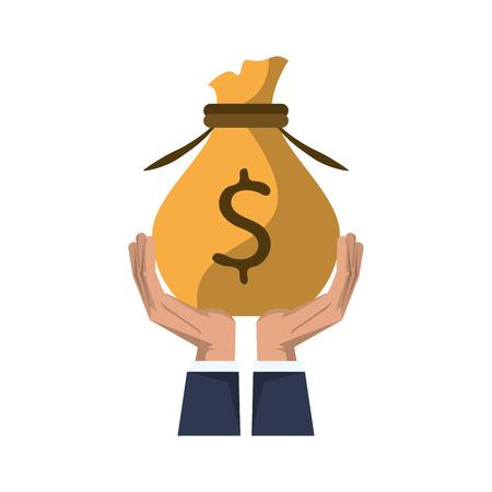 Ahorro de dinero en el mercado de inversiones, manos de negocios con diseño gráfico de ilustración de vector de bolsa de dinero