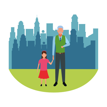 old man with kid avatar cartoon character cityscape skyscraper vector illustration graphic design