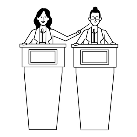 women in a podium making a speech wearing glasses with a wand black and white vector illustration graphic design