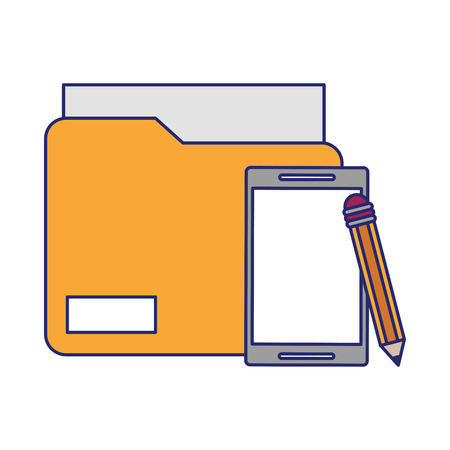 cellphone with documents and pencil icon cartoon vector illustration graphic design