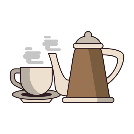 coffee cafe concept coffee shop elements hot drinks cartoon vector illustration graphic design