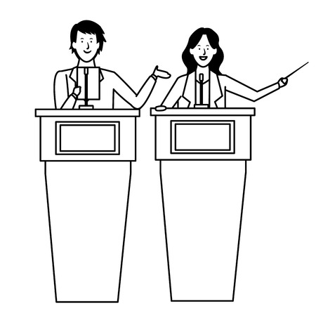 couple in a podium making a speech with wand black and white vector illustration graphic design