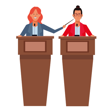 women in a podium making a speech wearing glasses with a wand vector illustration graphic design Ilustração