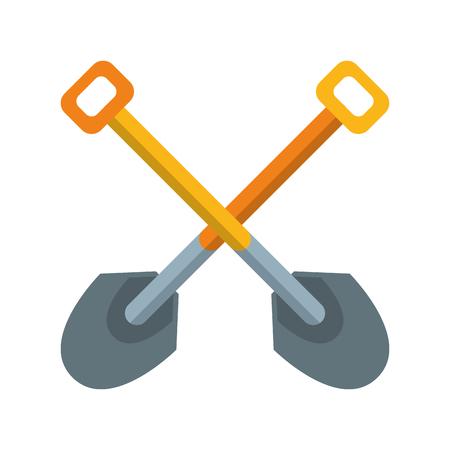 Shovels crossed symbol construction tool cartoon vector illustration graphic design