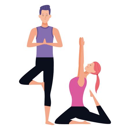 couple yoga poses avatars cartoon character vector illustration graphic design