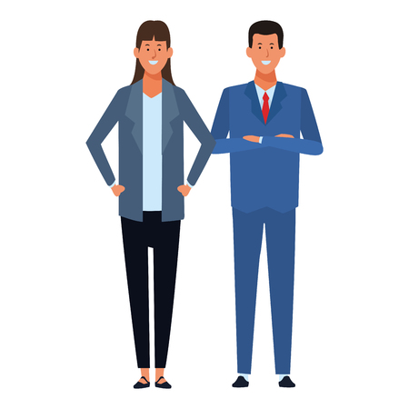 business couple avatar cartoon character vector illustration graphic design