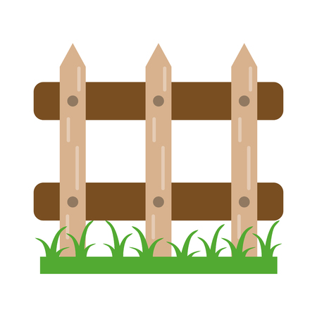 Garden fence with grass cartoon Banque d'images - 122406386