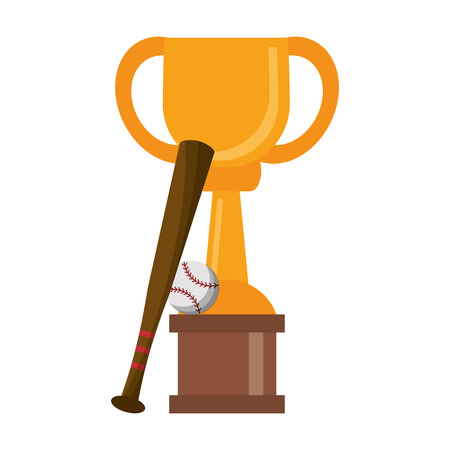 Baseball trophy cup with bat and ball championship