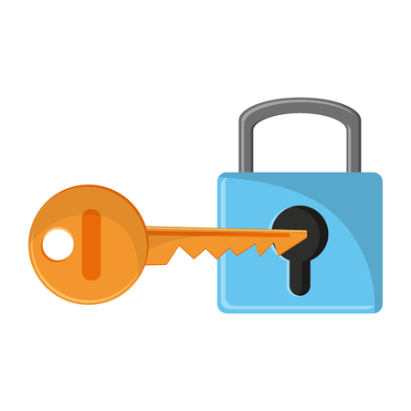 Padlock with key symbol vector illustration graphic design