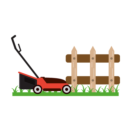 Gardening plants and tools mower and fence on grass Ilustracja