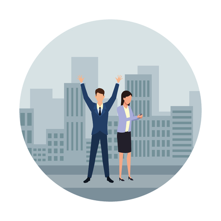 Businessman with arms up and businesswoman over cityscape scenery frame round icon vector illustration graphic design Illustration