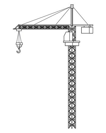 Progettazione grafica dell'illustrazione di vettore isolata macchinario della gru di Cronstruction