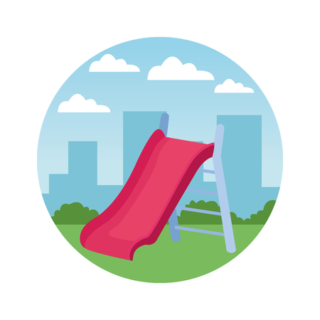 Swing playground game cartoon in the city park round icon vector illustration graphicdesign