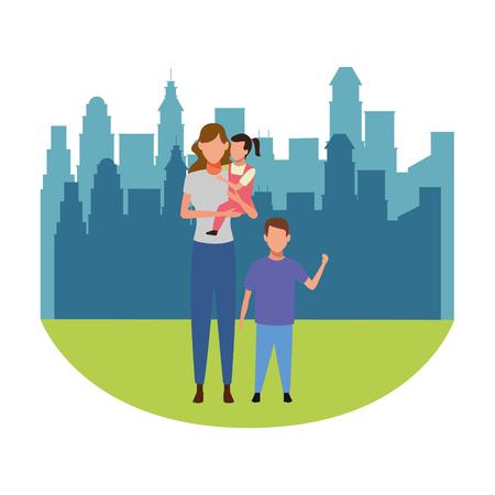 woman with children avatar cartoon character cityscape skyscraper vector illustration graphic design