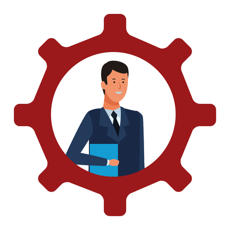 businessman into a gear with documents vector illustration graphic design