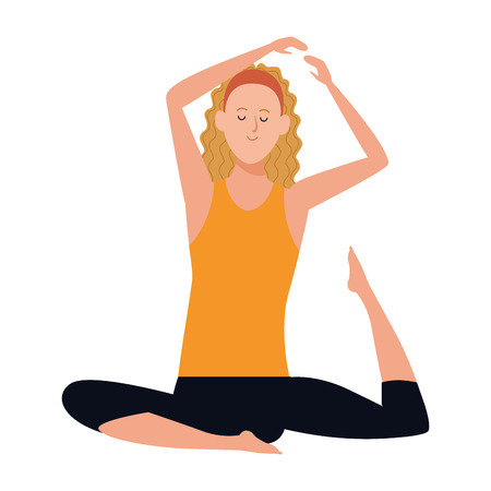 woman yoga pose avatar cartoon character vector illustration graphic design Иллюстрация