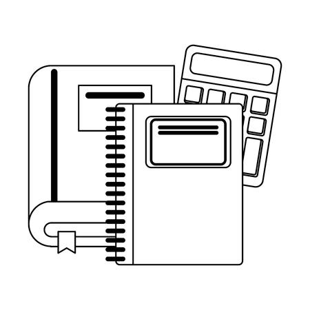 School utensils and supplies book notebook and calculator Designe