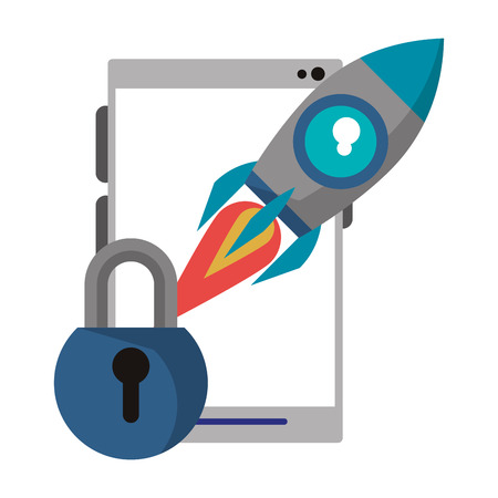 cellphone with padlock and rocket icon cartoon vector illustration graphic design