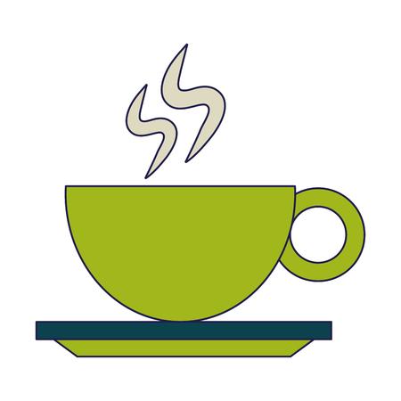 Hot coffee mug on dish cartoon vector illustration graphic design Illustration