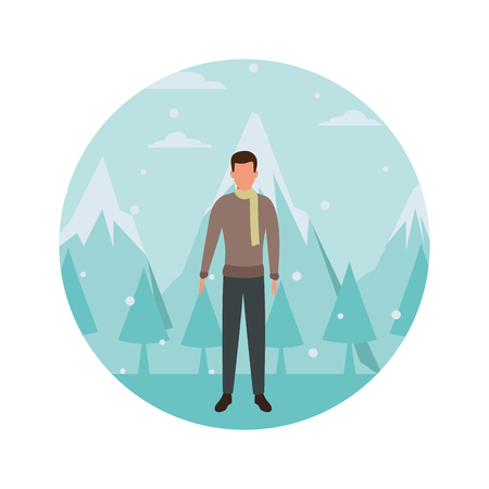 man wearing sweater and scarf avatar cartoon character snow mountain lanscape round icon vector illustration graphic design