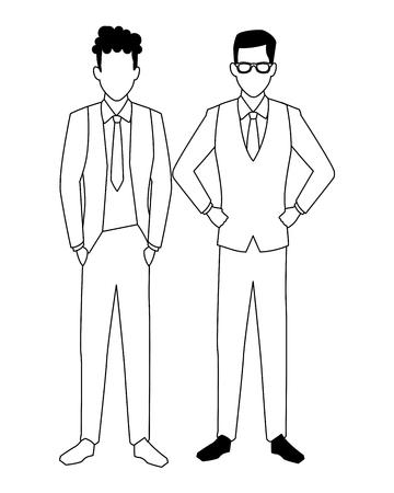 executive business men cartoon vector illustration graphic design Vectores