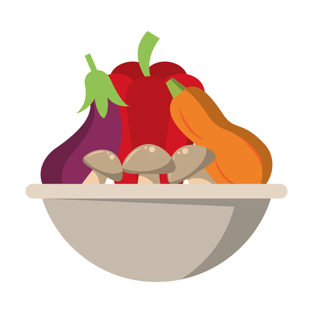 Fresh vegetables food in bowl vector illustration graphic design