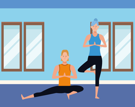 couple yoga poses avatars cartoon character and bun indoor in the gym vector illustration graphic design Иллюстрация