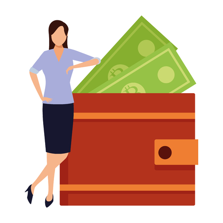 businesswoman and wallet with money bills vector illustration graphic design Ilustrace