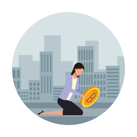 Businesswoman with bitcoin avatar over cityscape scenery frame vector illustration graphic design