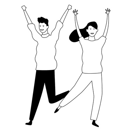 Father and adult daughter dancing and smiling vector illustration graphic design