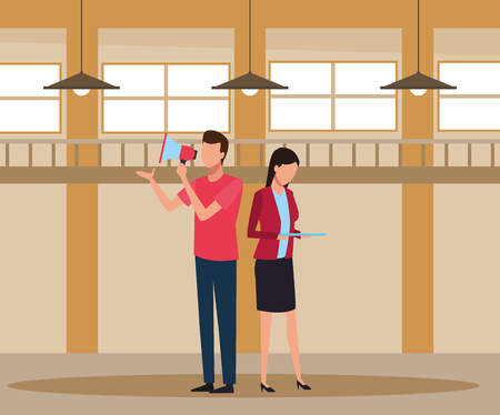 Coworkers man with bullhorn and woman with tablet teamwork cartoon inside workplace office vector illustration graphic design