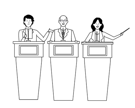 people in podiums with wand wearing glasses black and white vector illustration graphic design