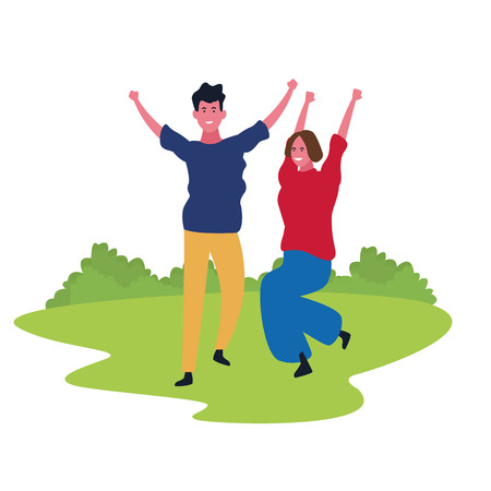 Couple woman and man dancing and having fun cartoon in park outdoors scenery vector illustration graphic design