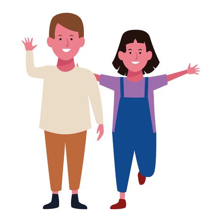 Two kids boy and girl smiling cartoons vector illustration graphic design Ilustración de vector
