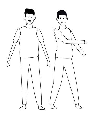Friends men greeting and smiling vector illustration graphic design Illustration