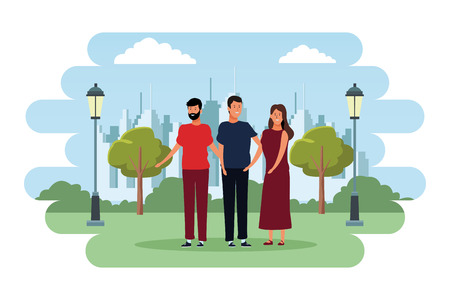 people avatars cartoon characters open arms wearing casual clothes with beard  in the city park scenery