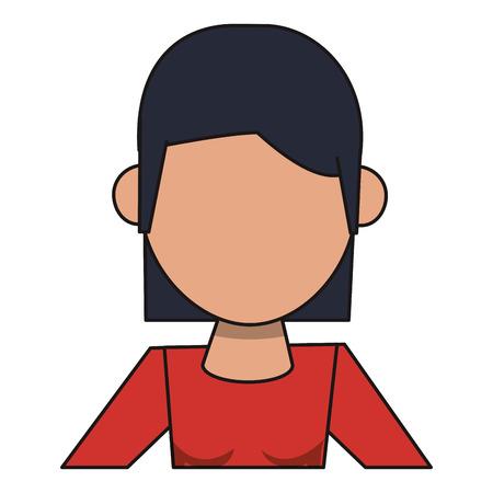 woman avatar cartoon character isolated portrait vector illustration graphic design