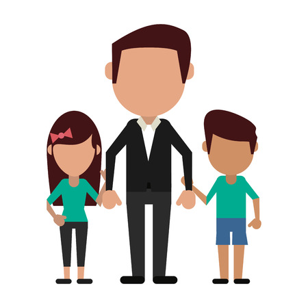 Familienavatar Vater mit Tochter und Sohn gesichtslose Cartoon-Vektor-Illustration-Grafik-Design