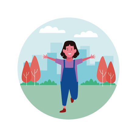 Girl smiling and greeting cartoon in the city park round icon vector illustration graphicdesign