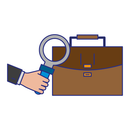 briefcase and magnifying glass icon cartoon vector illustration graphic design