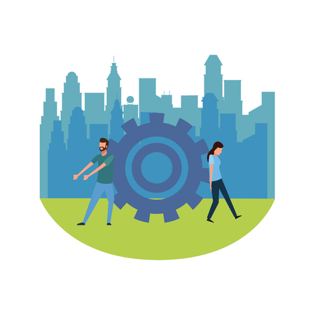 Coworkers pushing and pulling big gear teamwork cartoon over cityscape scenery vector illustration graphic design Ilustrace